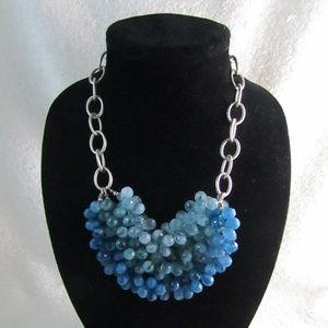 LOFT Ombre Blue Beaded Statement Necklace